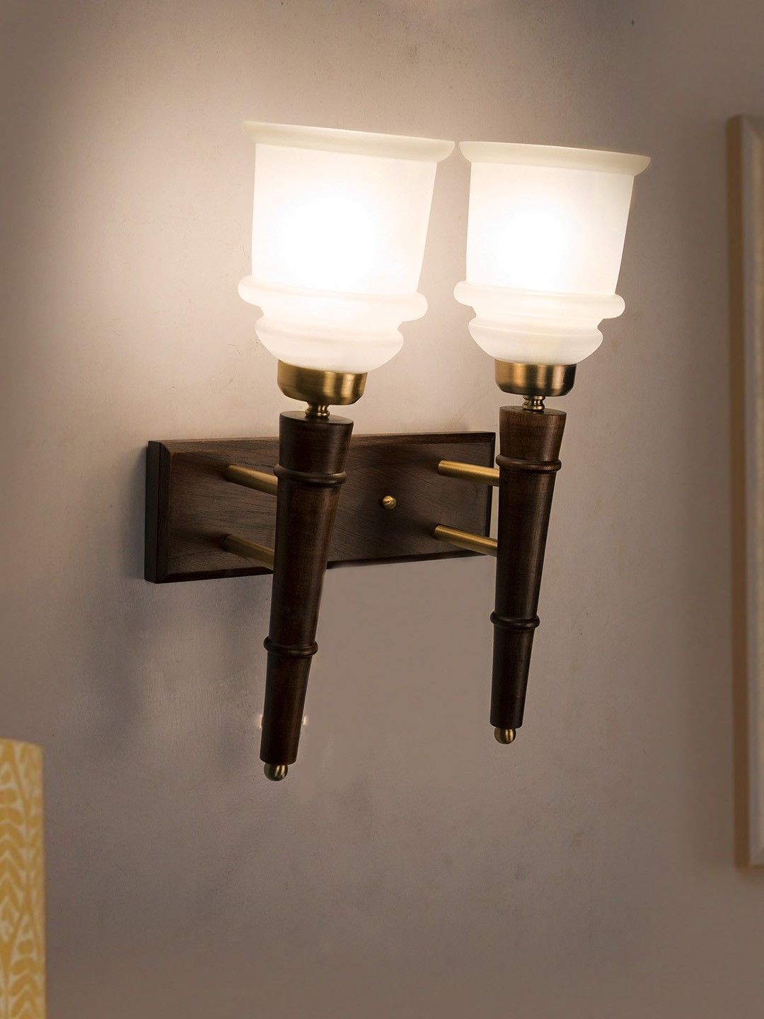 Wooden Torchiere 2 Light Wall Sconce