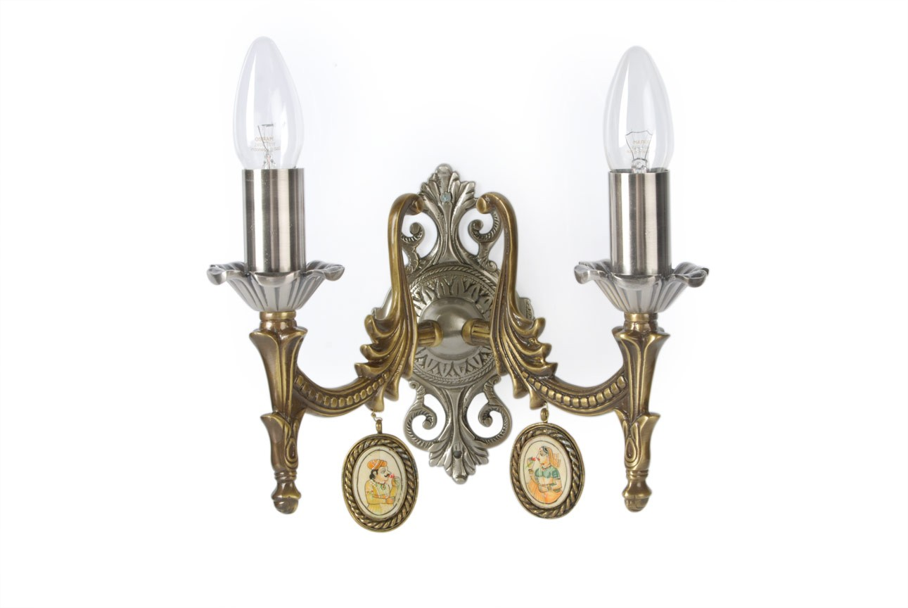Dual finish Ornamental double brass wall sconce