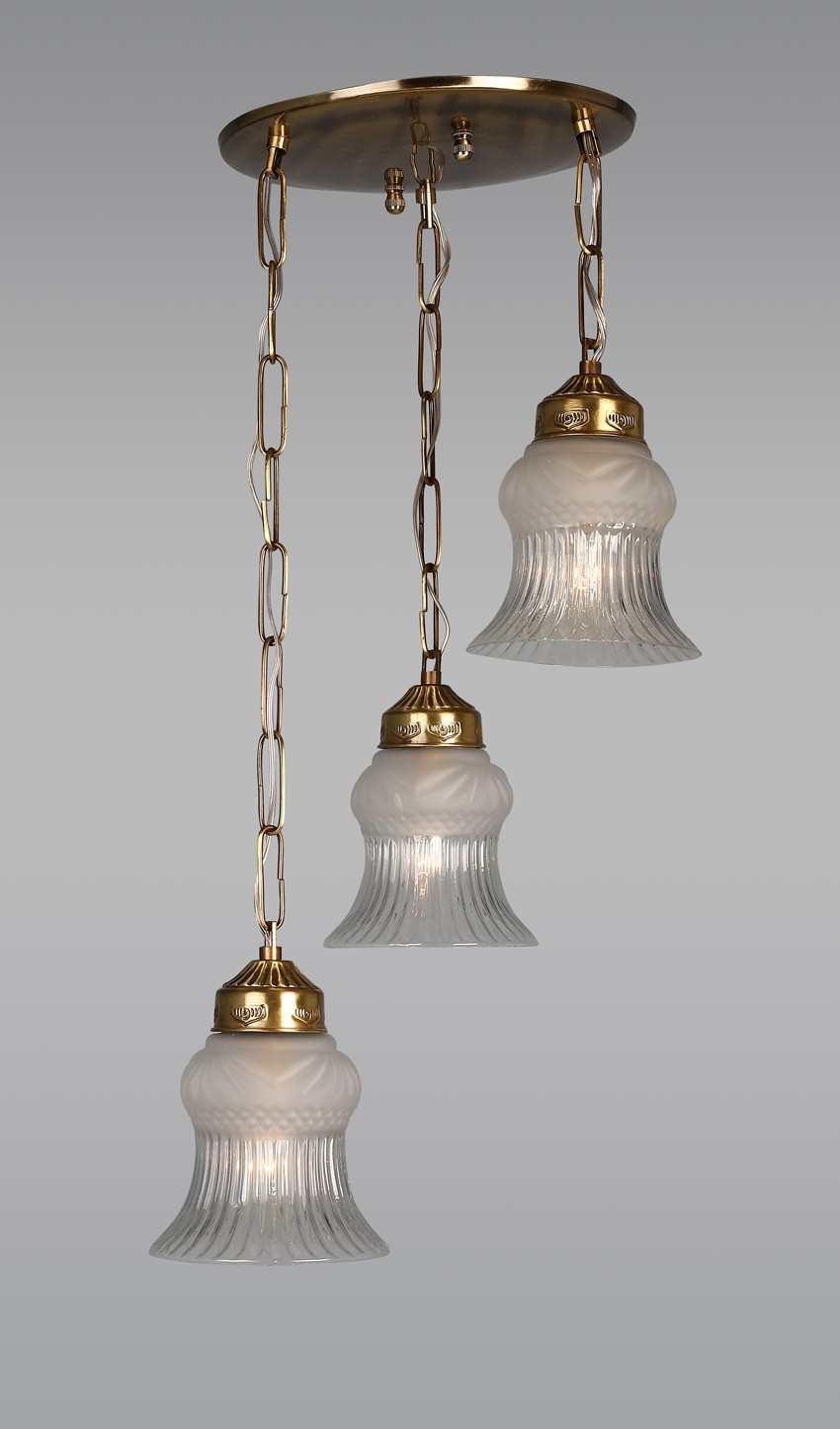 Usha Antique Brass Triple Hanging Lights