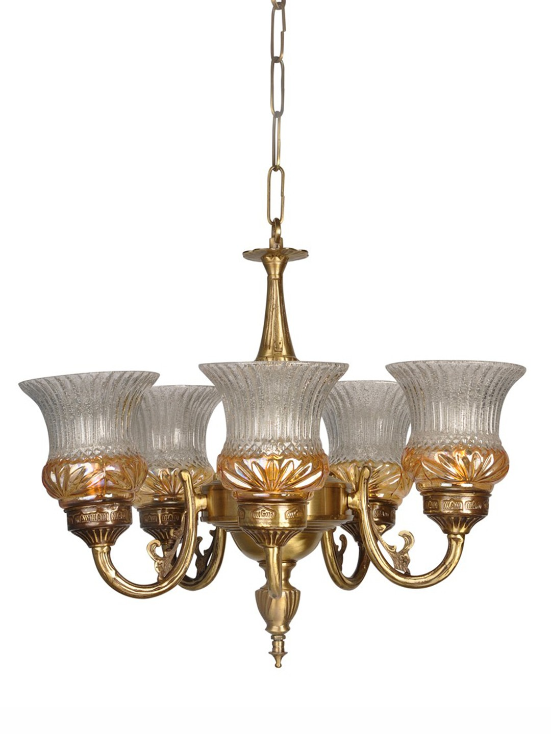 Lustrous 5 Light  Antique Brass Chandelier