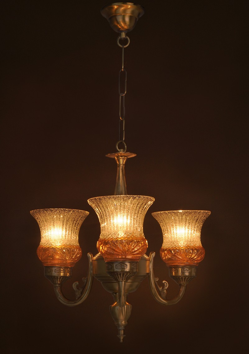 Lustrous 3 Light Mini Antique Brass Chandelier