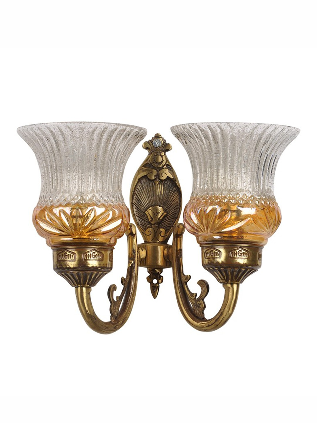 Lustrous Double Antique Brass Wall Light