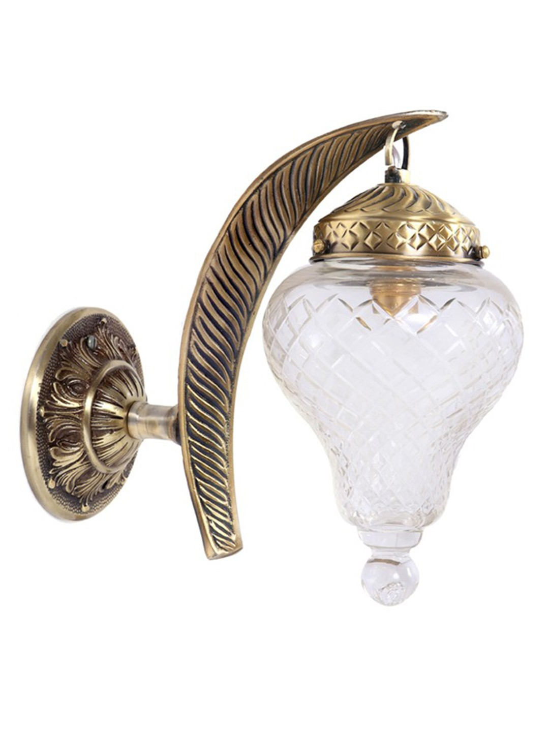 Leaf Cut Glass Lantern Wall Sconce