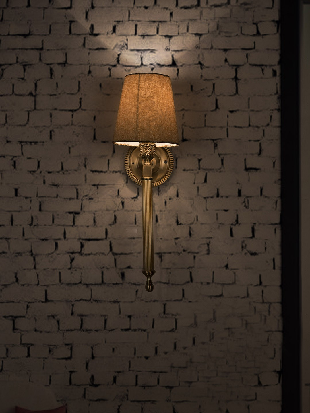 Slim Cast Brass Torchiere Style Wall Sconce with Golden Taper Shades