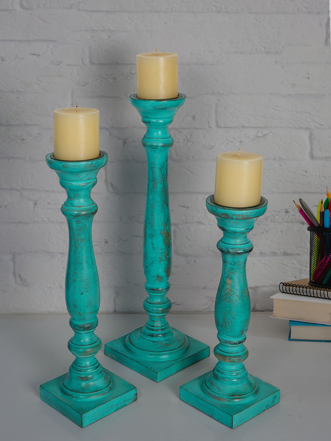 Rustic Green Set of 3 Wooden Pillar Candle Stands (without candles)