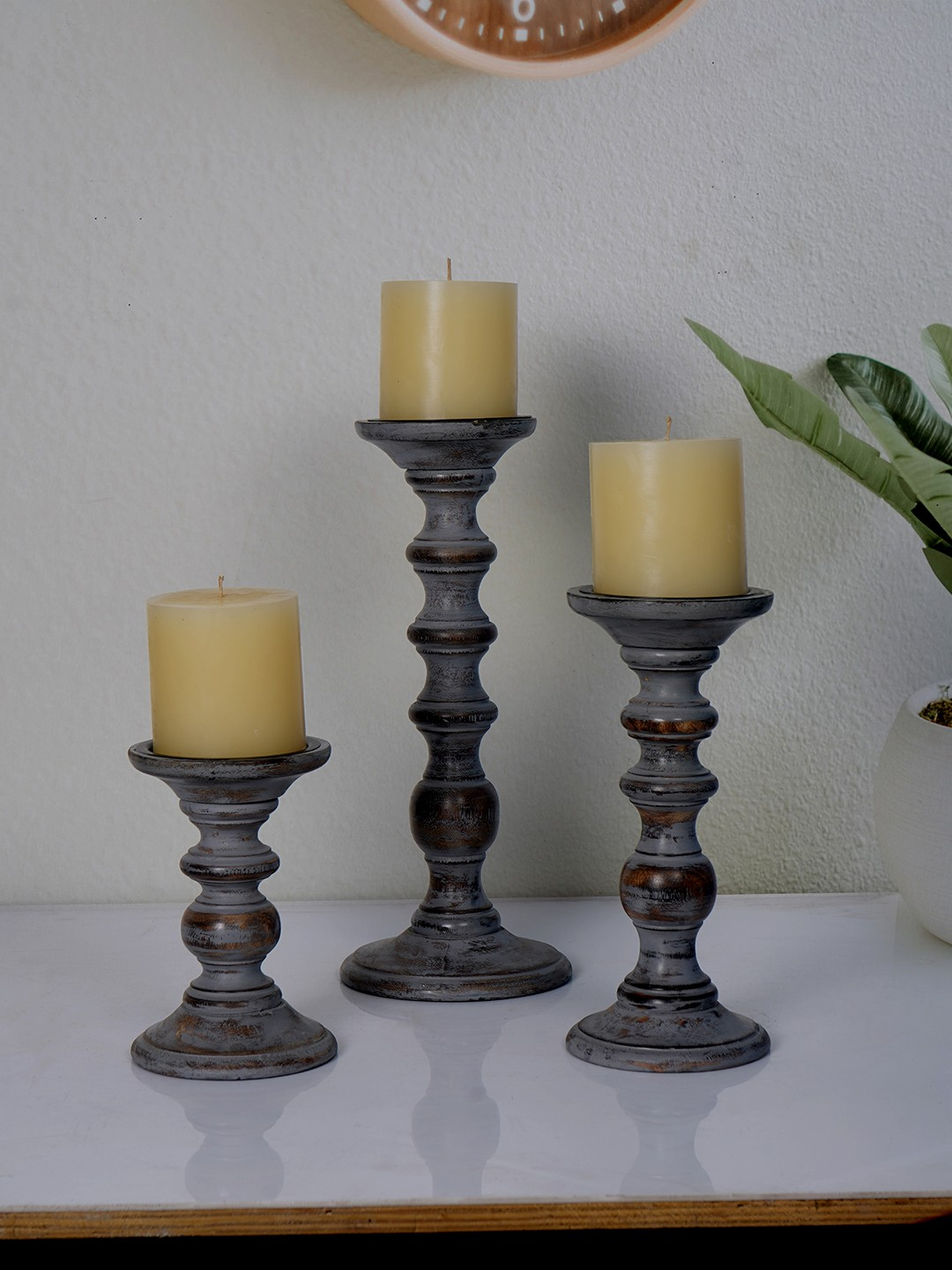 Rustic Grey Set of 3 Wooden Pillar Candle Stands (without candles)
