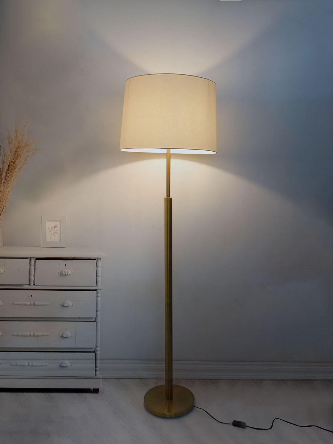 Classic Simple Steel Floor Lamp in Brushed Antique Brass Finish Off-white Drum Shade