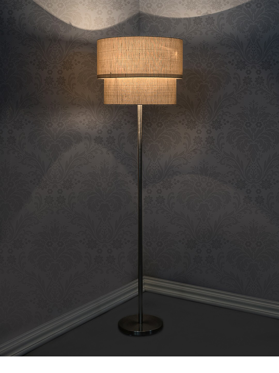 Double Drum Tan Floor Lamp - 18 inches