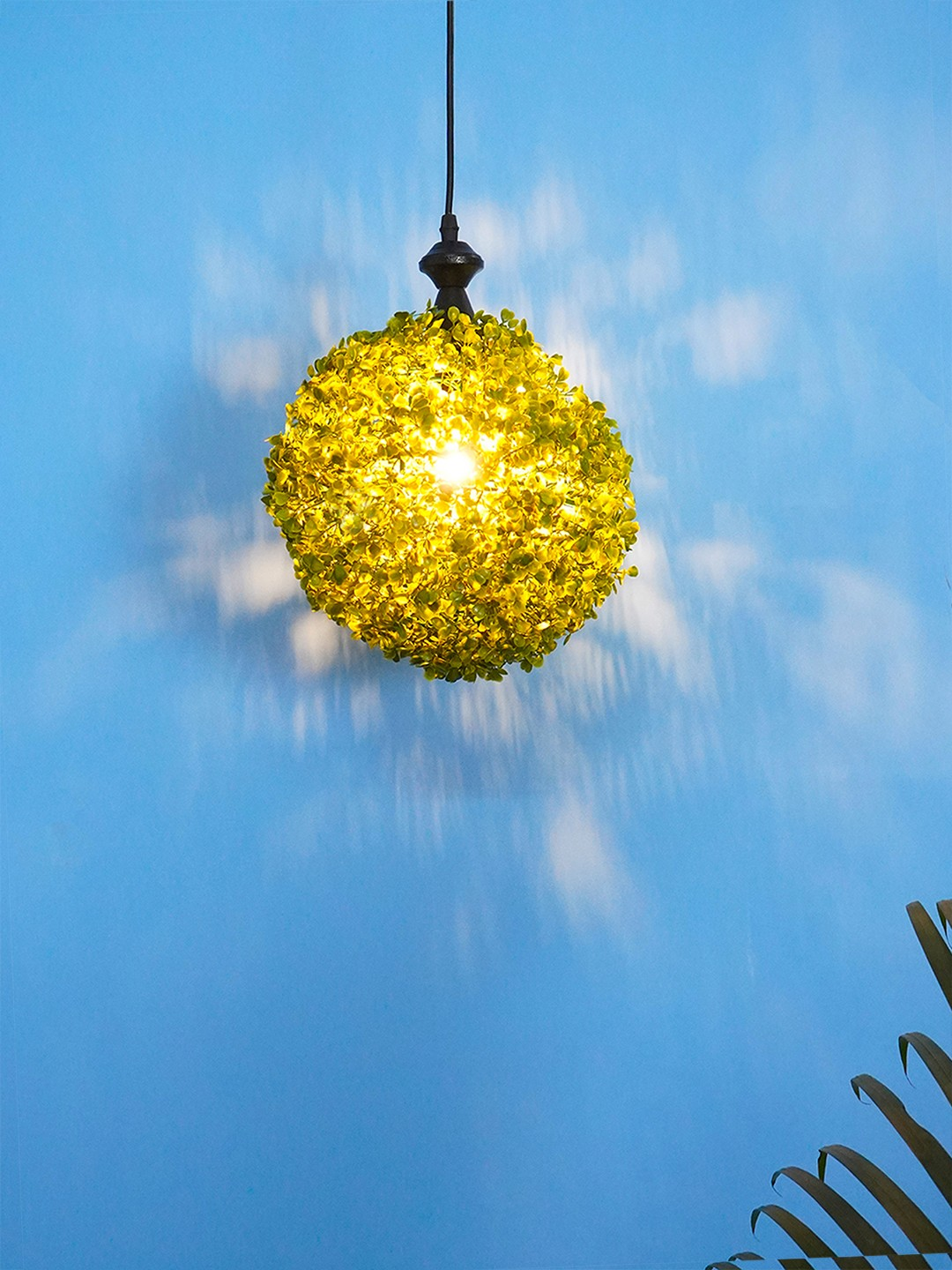 9 inches Faux Green Grass Ball Topiary Hanging Pendant Light
