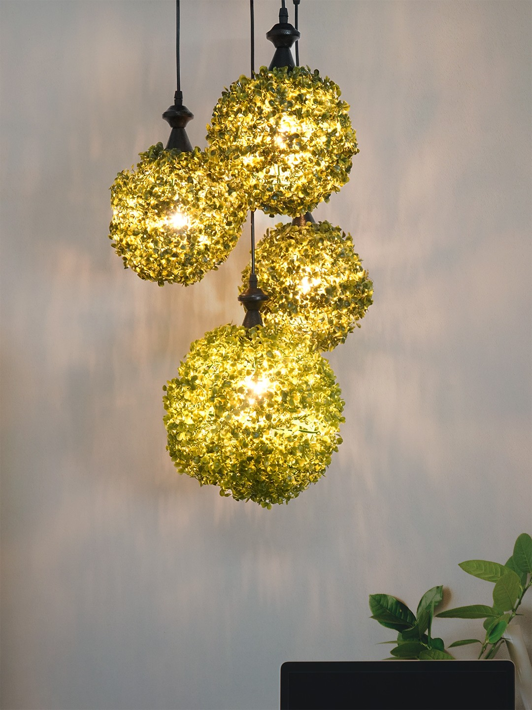 Set of 4 Faux Green Grass 7 and 9 inches Ball Topiary Pendant Light