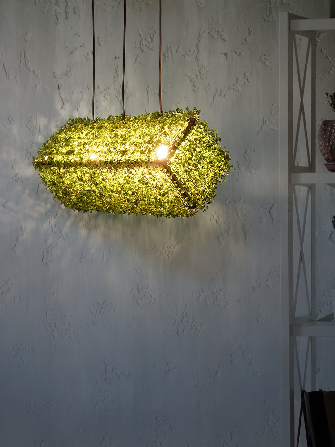 Rectangle Cuboid Topiary 26 inches Faux Green Grass Hanging Pendant Light