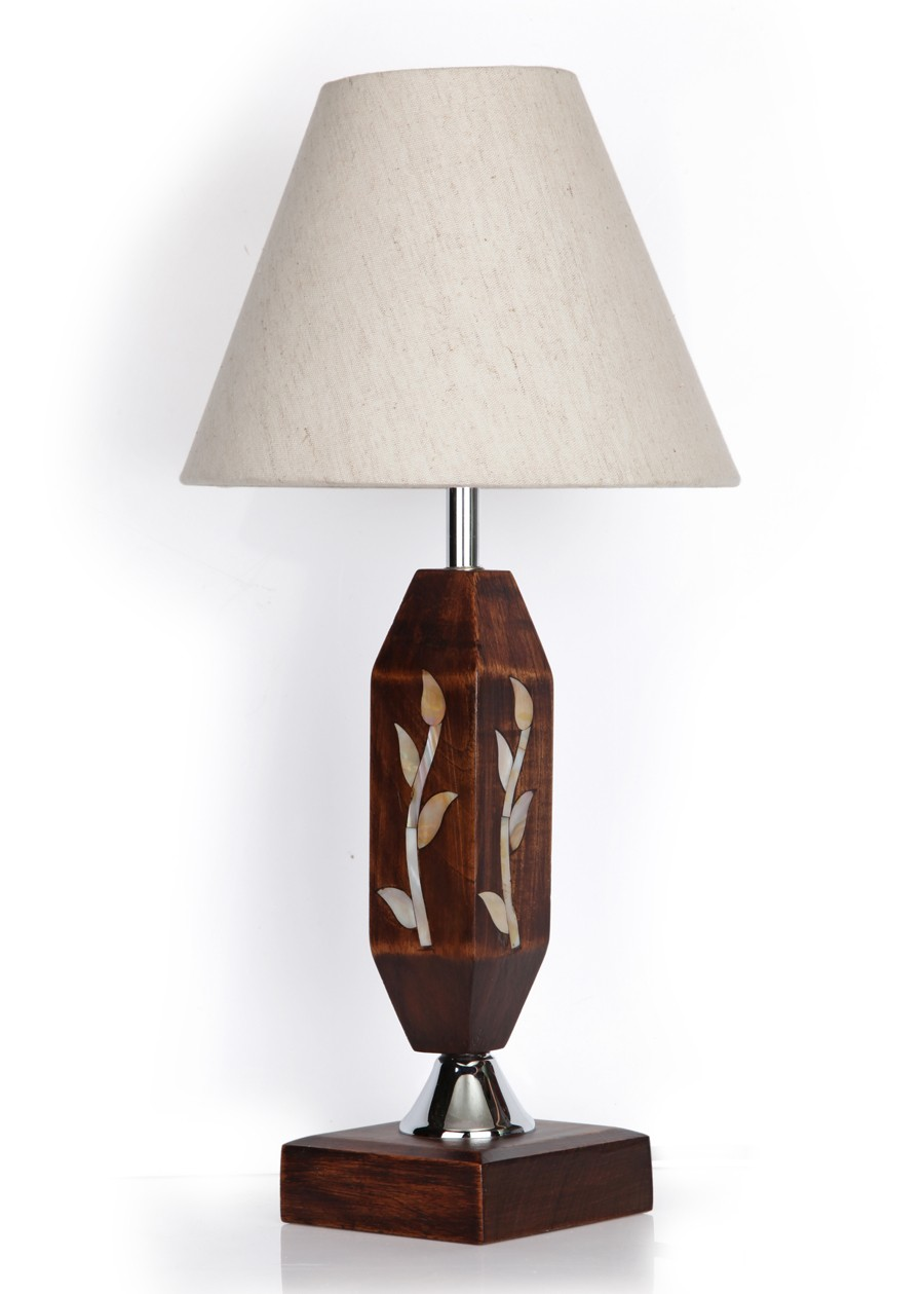 Princess Wood MOP Inlay Table Lamp