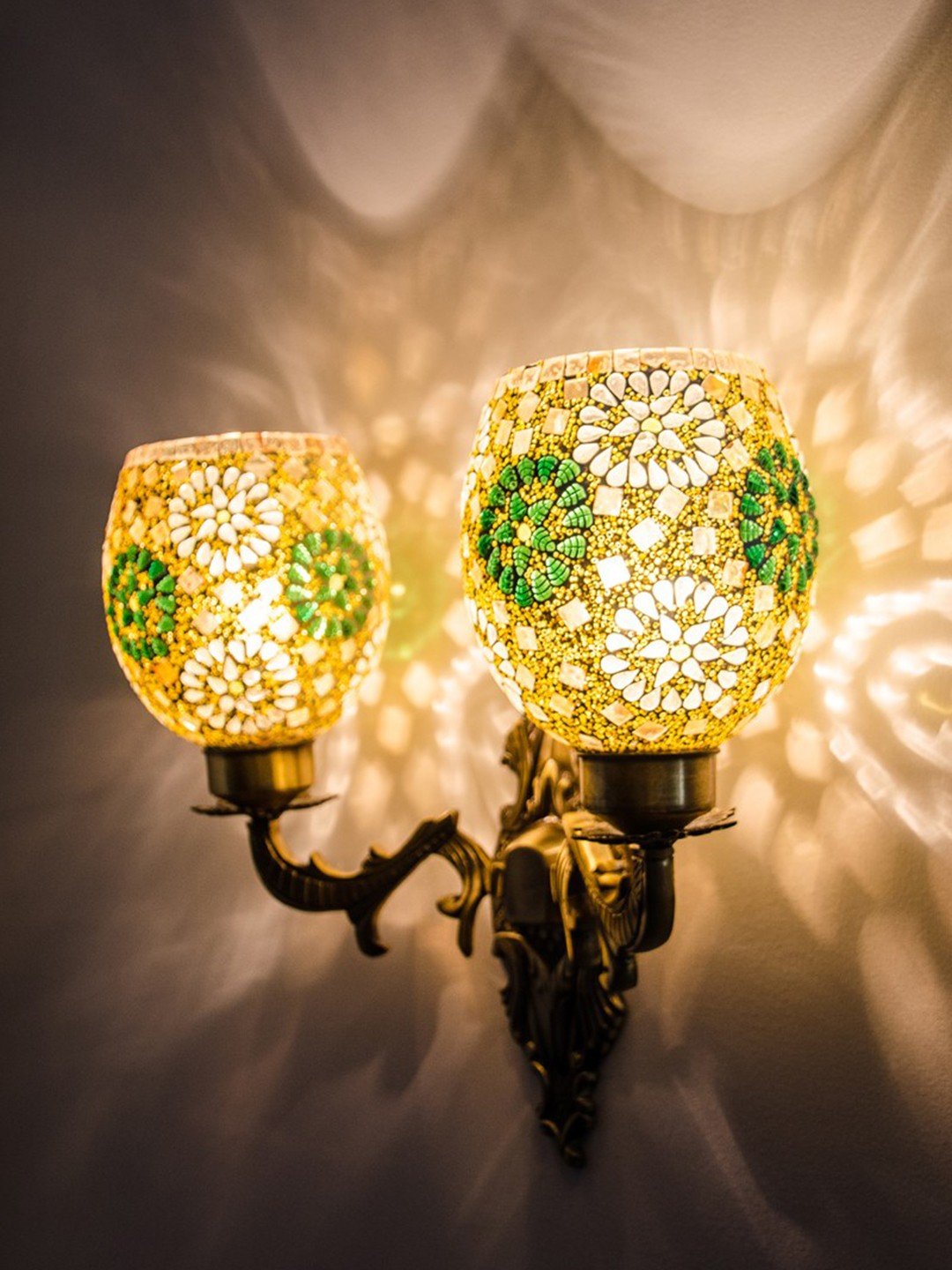 Priyanka Green Shimmer Ornate Double Wall Sconce