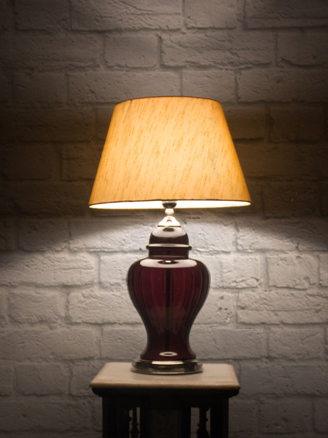 Ruby Cut Glass and Silk Shade Table Lamp