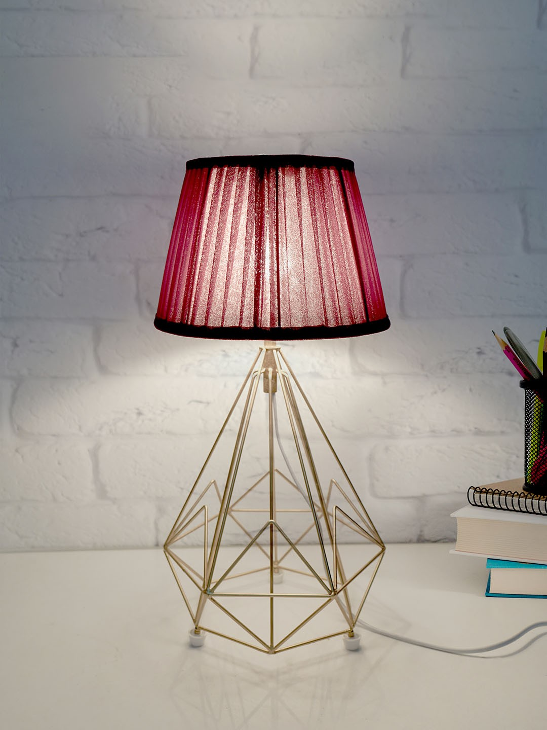 Golden Metal Wire Cage Diamond Pyramid Bedside Table Lamp with Pleated Maroon Fabric Shade