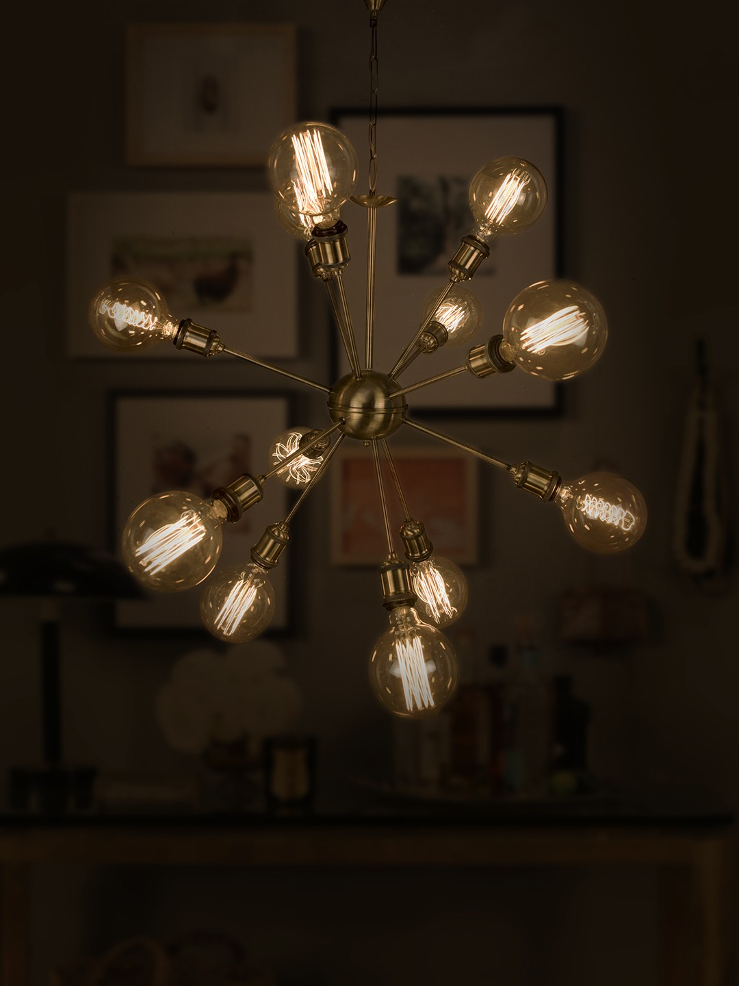 Cosmic Rays 12 Light Antique Gold Chandelier