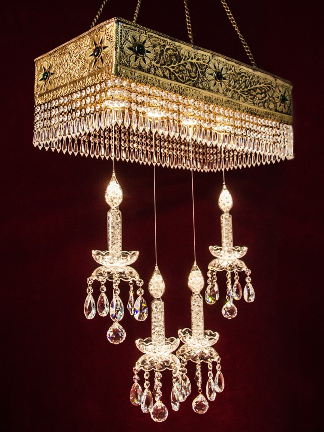 Linear Brass Carved Magic Candle 4 Led Chandelier