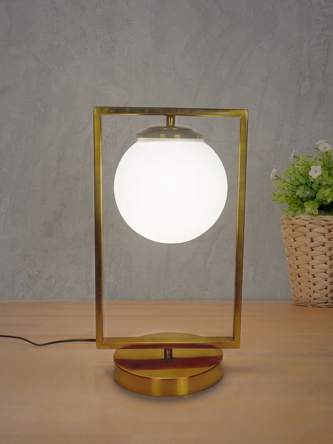 Mid Century Modern Antique Gold Rectangular Ring Table Lamp with Frosted Glass Globe