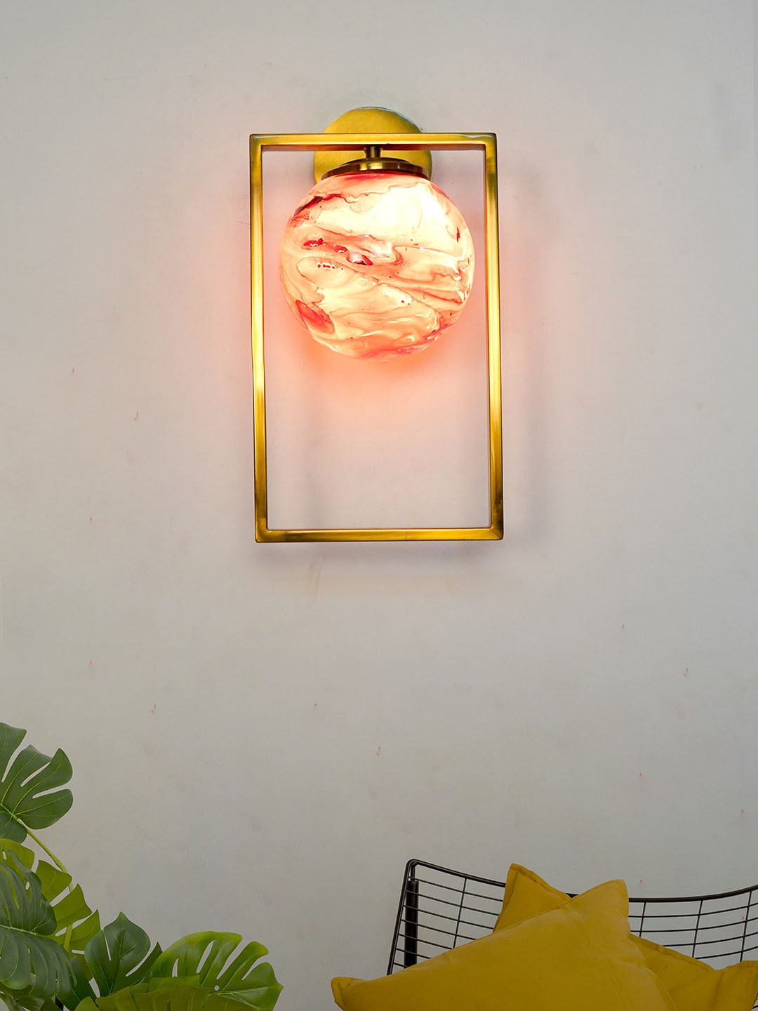 Mid Century Modern Antique Gold Rectangular Ring Wall Light with Red Marble Glass Globe