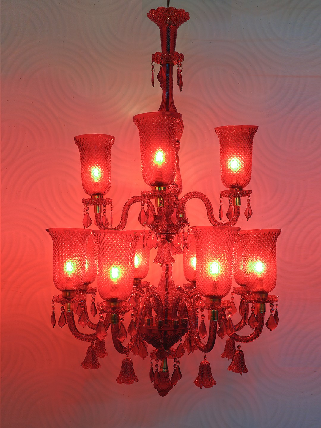 Classic 12 Light Red Moulded Glass Chandelier
