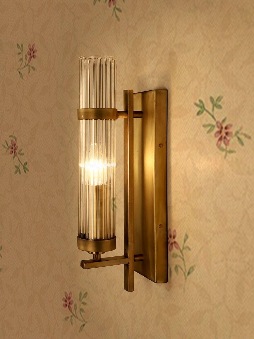 Rectangular Wall Sconce in Antique Brass Finish with Fluted Glass Tube
