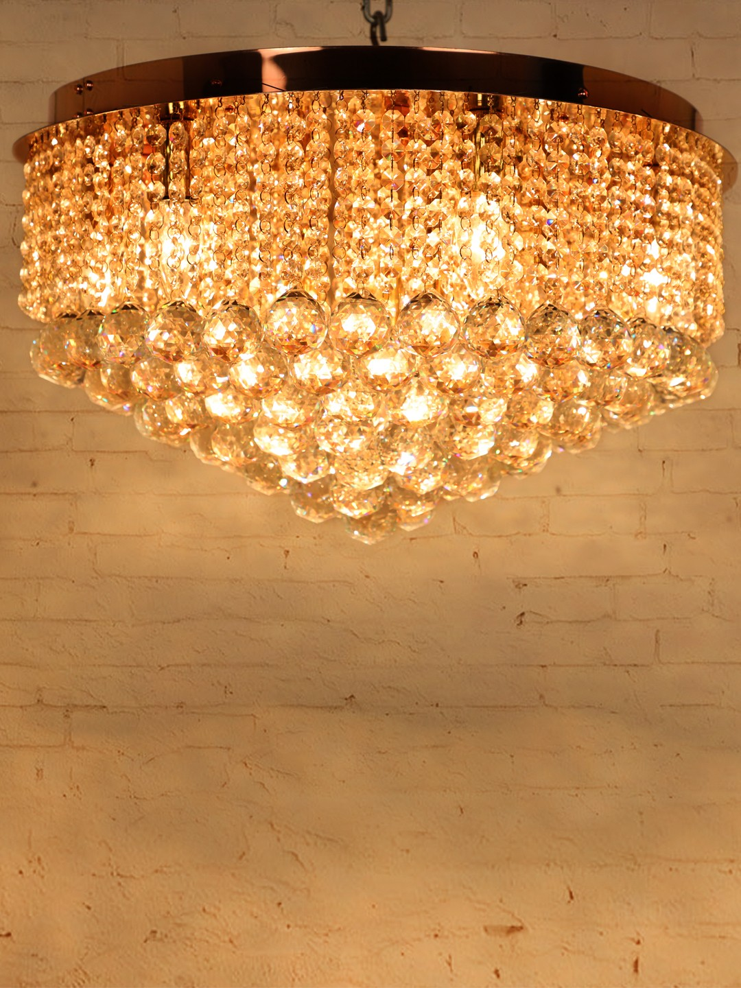 Flush Mount Rose Gold Round Crystal Ball Chandelier Decorative Online At Foslighting