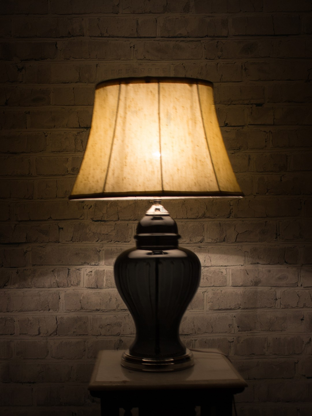 Smoked Cut Glass and Oval Shade Table Lamp