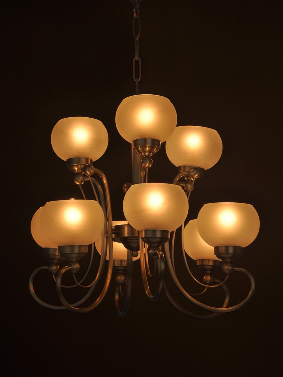 Stellar 9 light contemporary brass chandelier