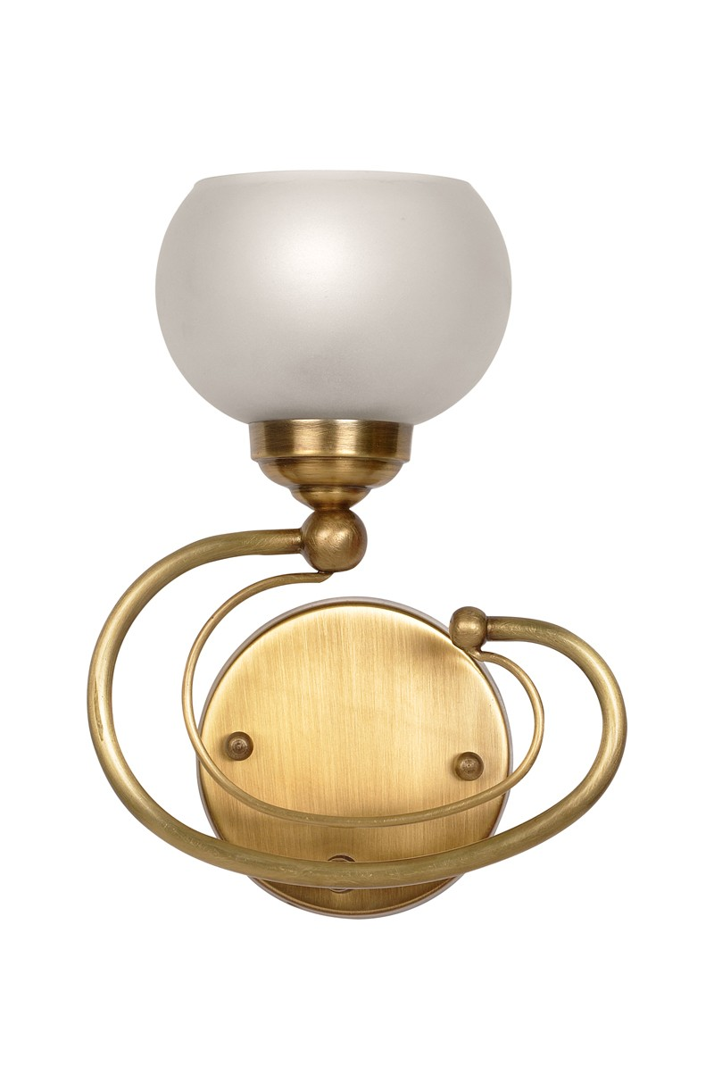 Curved Brass Round Globe Wall Light