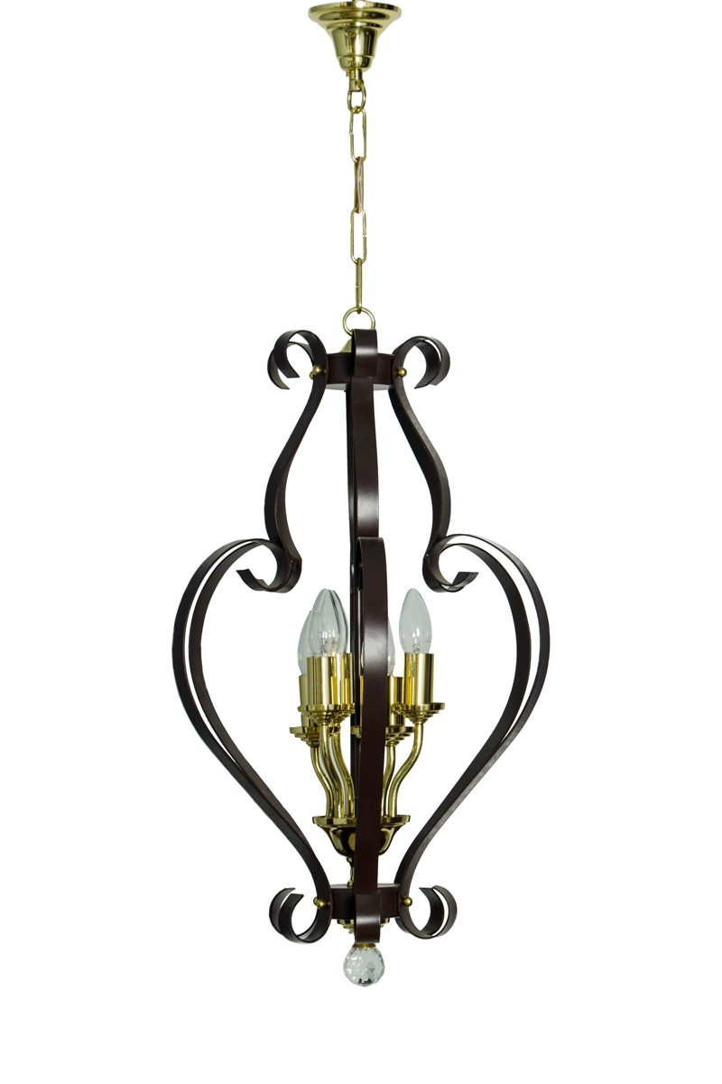 Graceful Wrought Iron & Brass 6 Light Chandelier