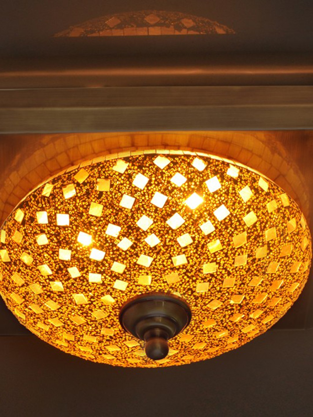 Golden Mosaic Square Brass Ceiling Lamp