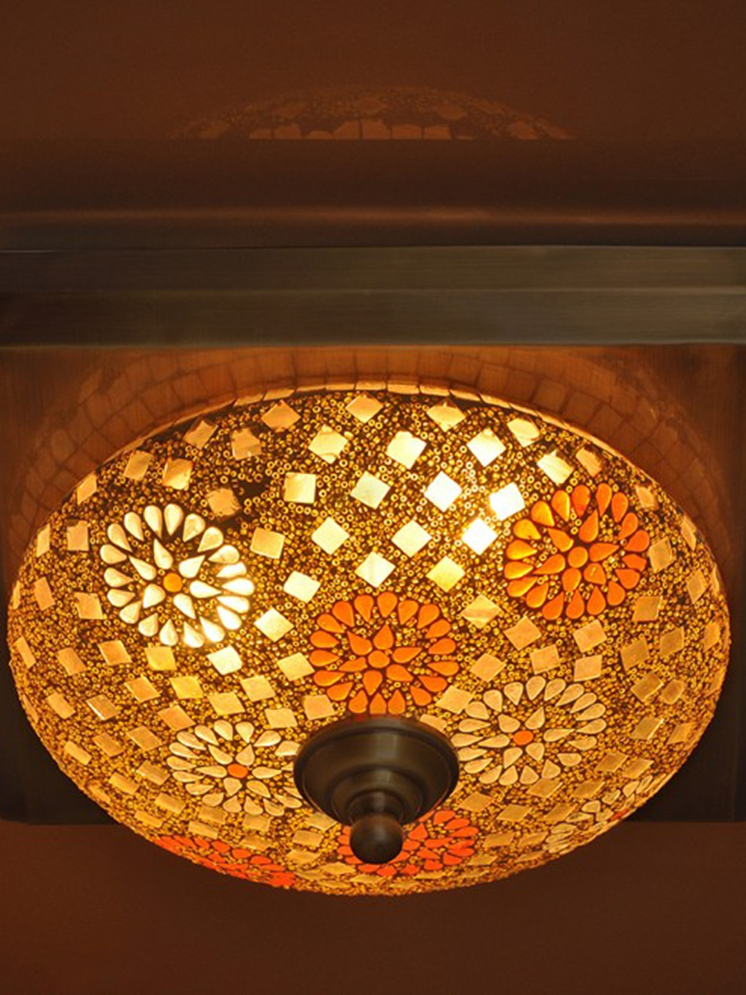 Tilak Mosaic Square Brass Ceiling Lamp