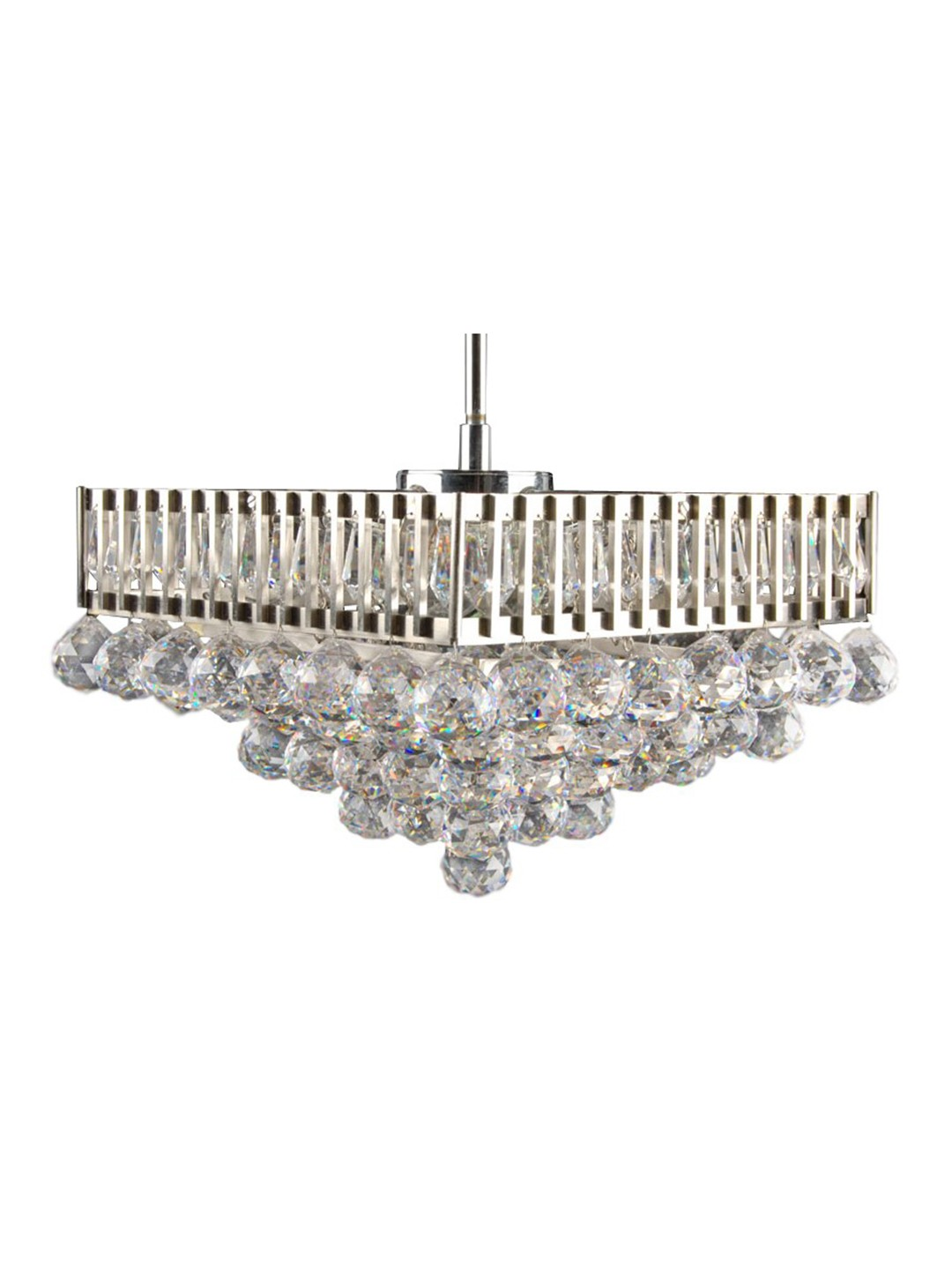 Crystal Balls Tiered Square Chandelier