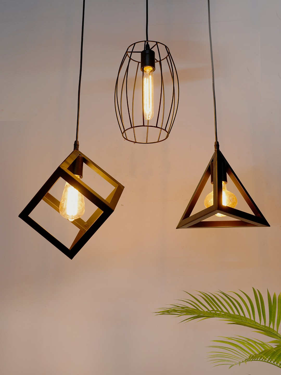 Set of 3 industrial Square WireDrum and Triangle Hanging Lights