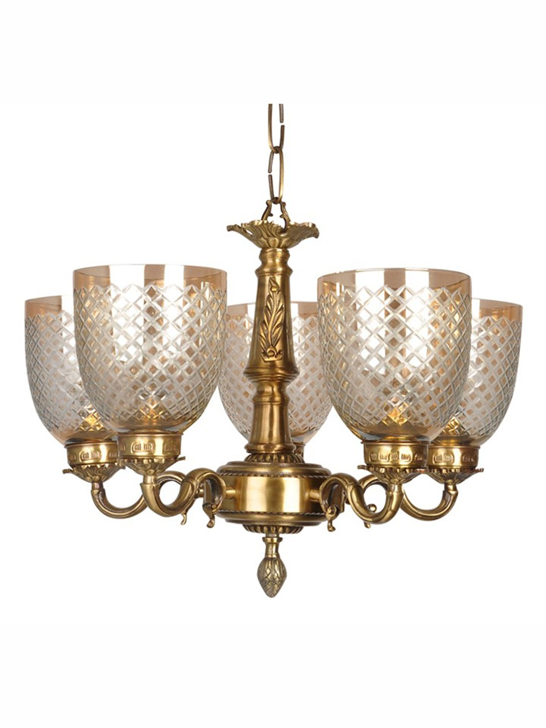 Brass vine chandelier with diamond cut lustrous glass