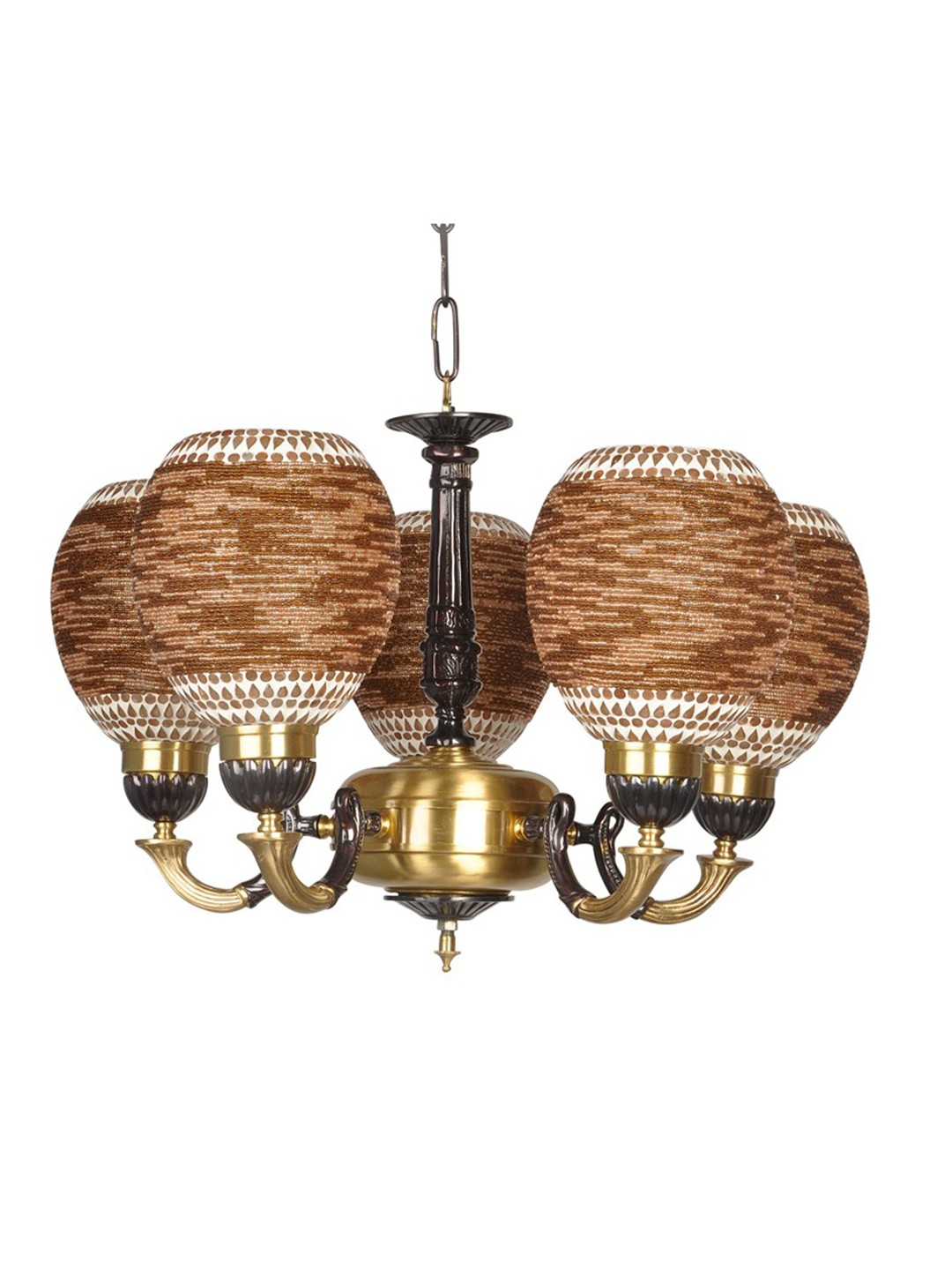 Two Tone Brown Beads Cast Brass Chandelier