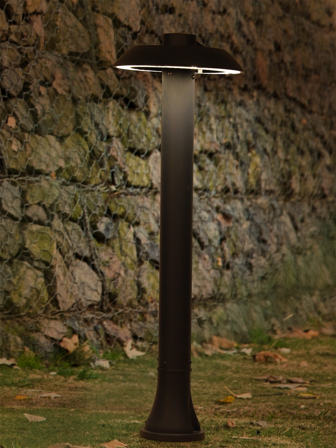 UFO Charcoal Grey Cast Aluminium LED Pathway Bollard Light