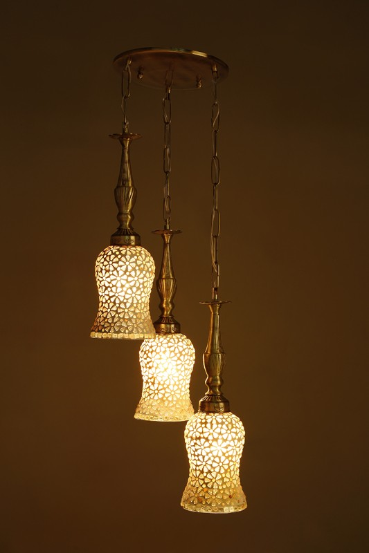 Captivating Triple Brass Hanging Light