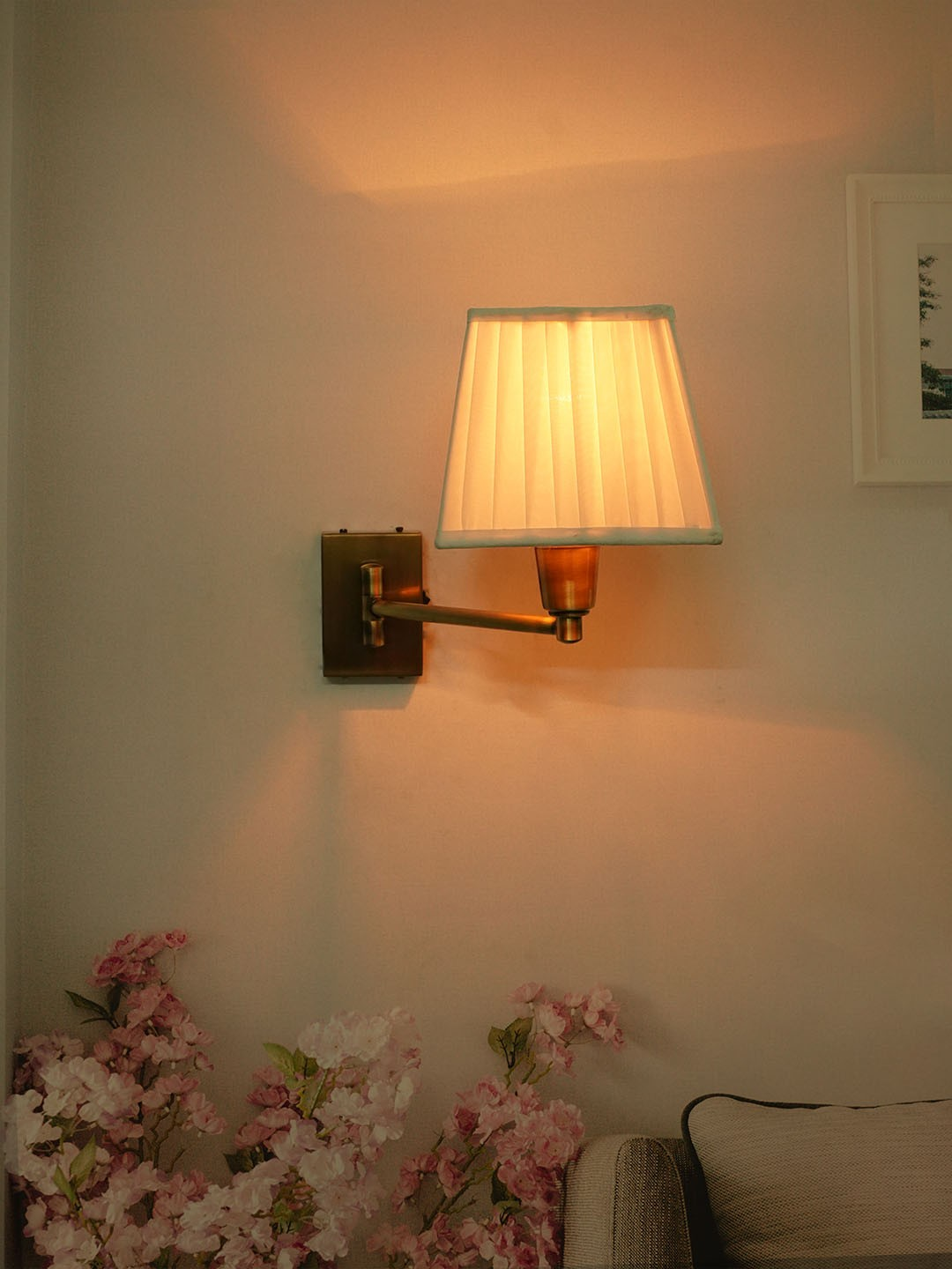 Swivel Antique Bedside Wall Sconce with Pleated Square Fabric Shade