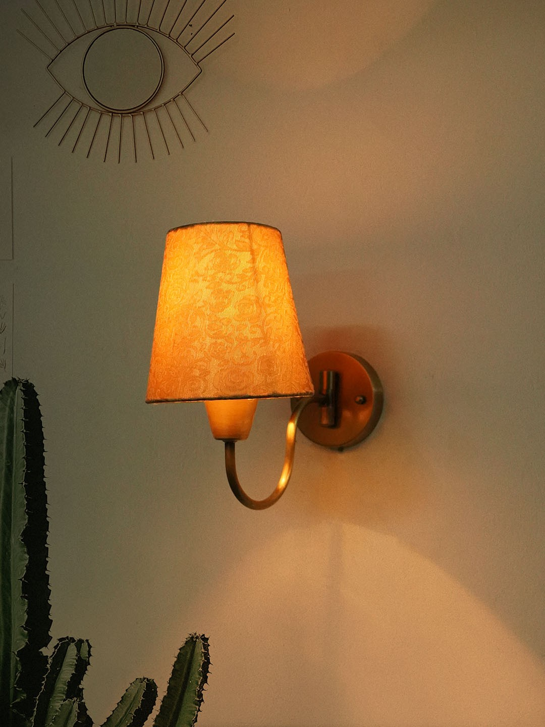 Gooseneck Brass Swivel Wall Sconce with Golden Brocade Fabric Shade