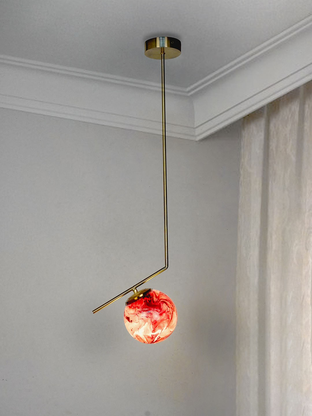 Mid Century Modern Steel Tangent Ceiling Light in Matt Gold Finish and Red Marble Glass Globe