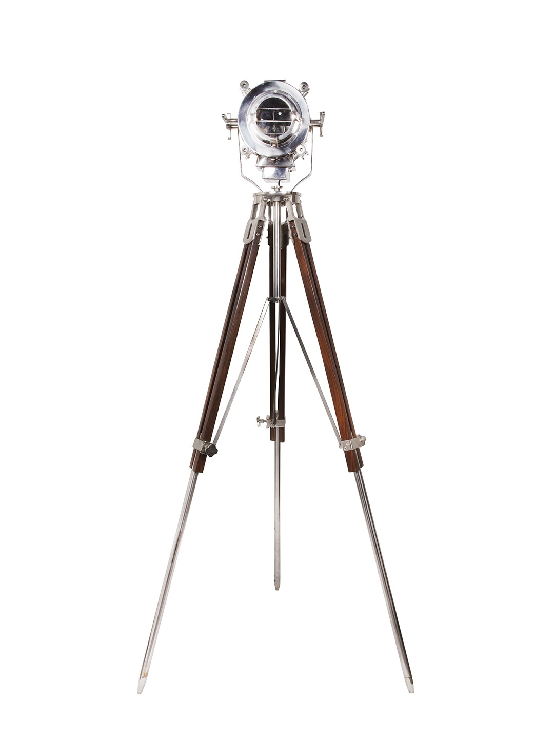 Nautical Adjustable Wooden Tripod with Nickel Spot Light
