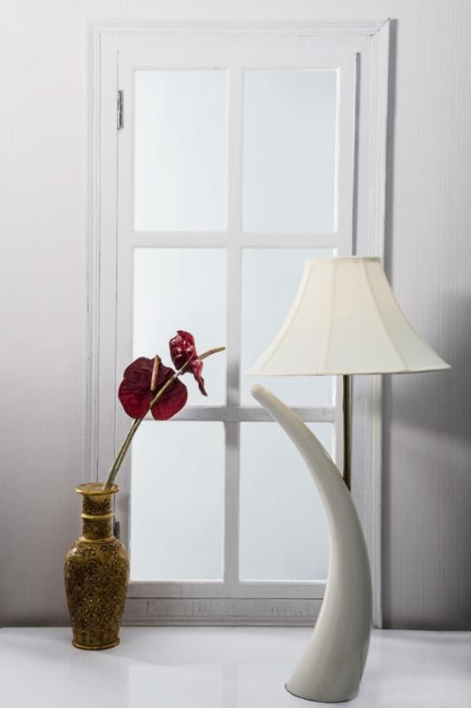 Ivory Tusk Table Lamp with Bell Shade