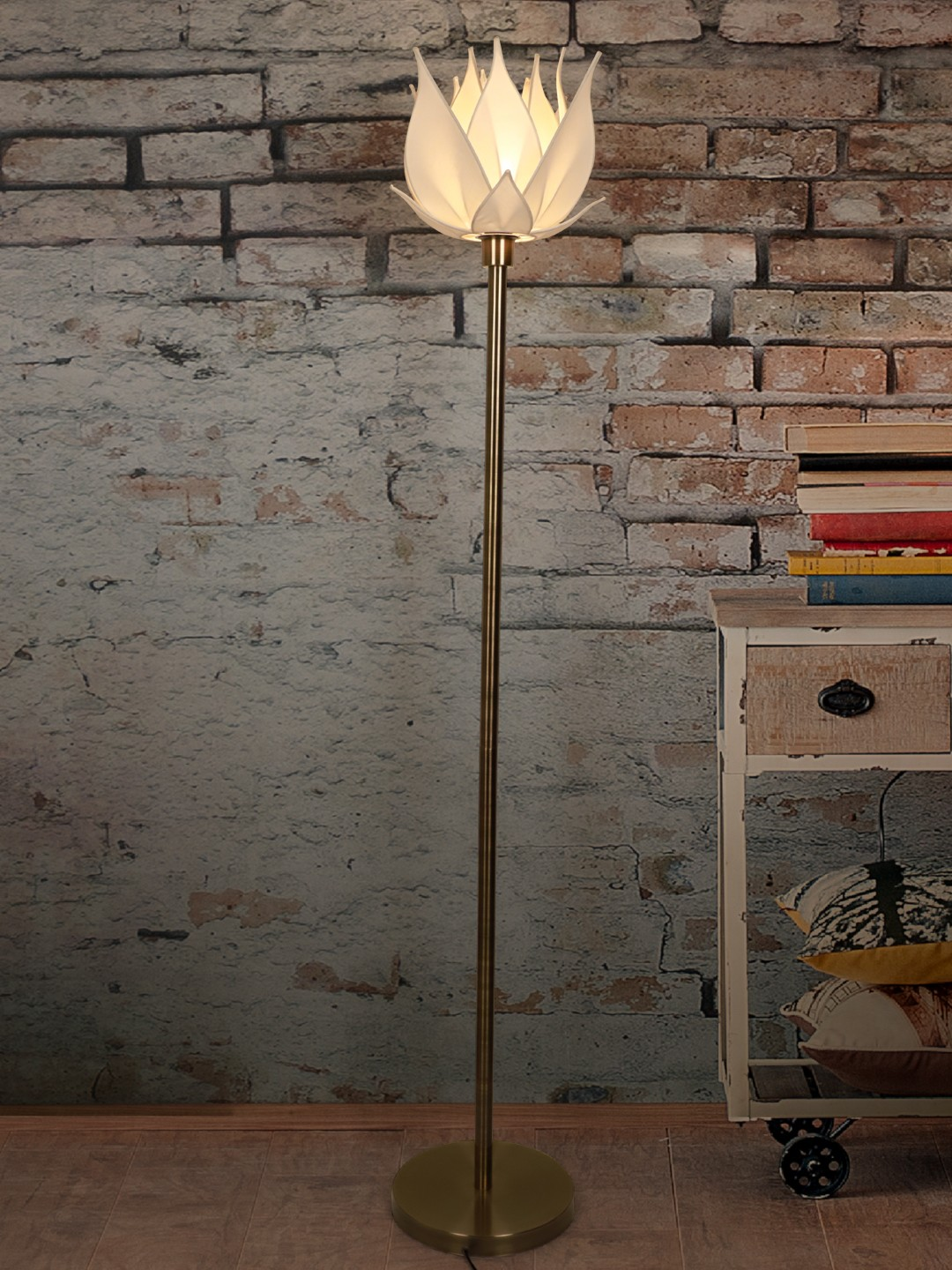 Auspicious Ivory Blooming Lotus Antique Brass Floor Lamp