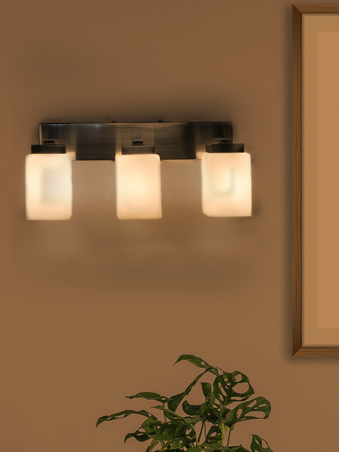 Modern Satin Finished Triple Vanity Wall Light with Opal Shades