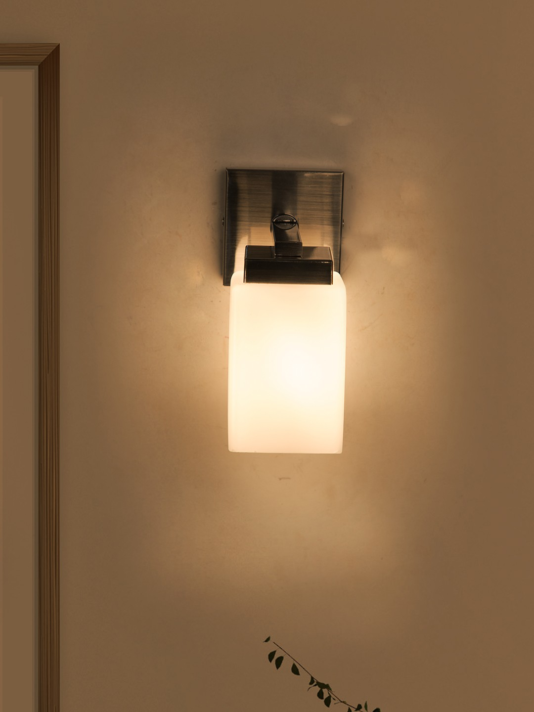Modern Satin Finished Single Wall Sconce with Opal Shade