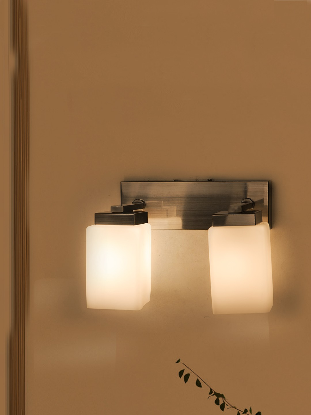 Modern Satin Finished Double Wall Sconce with Opal Shades