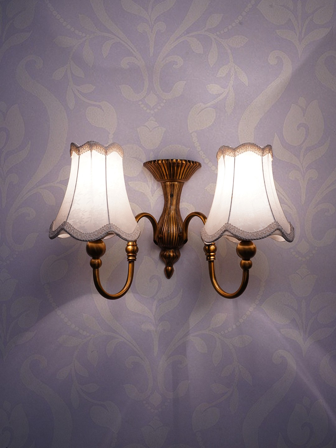 Victoria Dual Light or 2 Lamp Shade Brass Light with Classic Fabric Covering Antique Brass Finish Wall Light/Wall Hanging Lamp for Rooms Halls and Kitchen