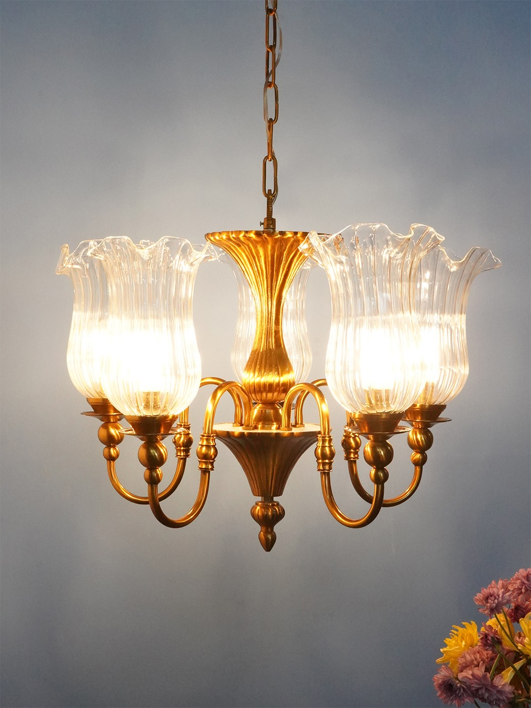 Victoria Cast Brass Antique Bronze Finished 5 Light Chandelier with Fluted Hand Blown Glass Shades