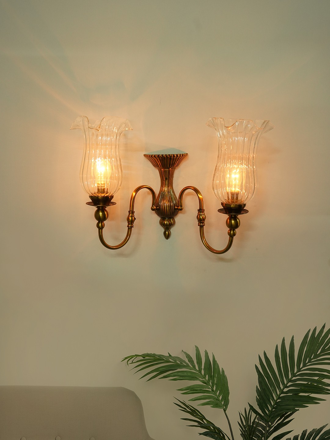 Victoria Cast Brass Antique Bronze Double Wall Sconce with Fluted Hand Blown Glass Shades